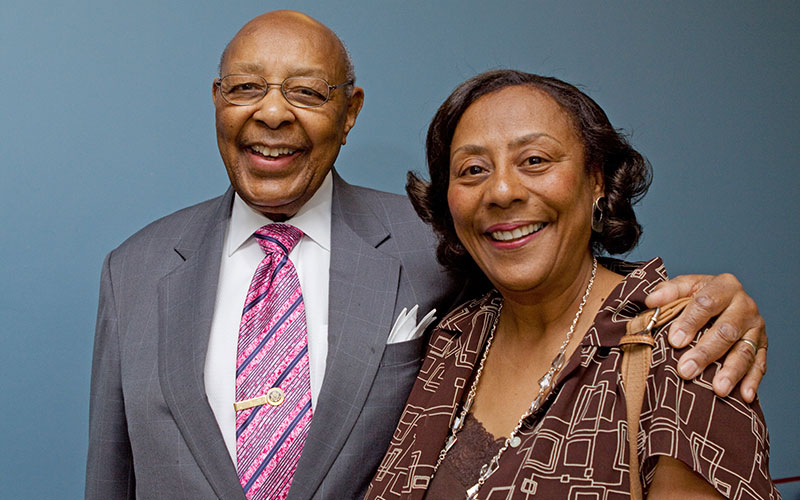 Shelley Stokes-Hammond with her father, former U.S. Congressman Louis Stokes, in 2012