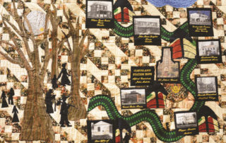 A narrative quilt called Journey's End by Gloria Kellon, which celebrates Northeast Ohio's important role in the Underground Railroad.