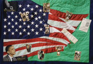 Narrative quilt celebrating Barack Obama's presidential victory