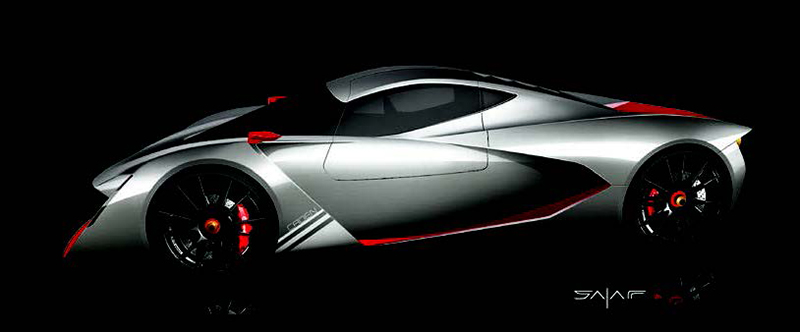 Design sketch of the SALAFFDesign C1 supercar
