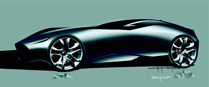 Design sketch of the SALAFFDesign C3 supercar