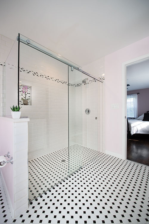 Stunningly renovated accessible bathroom.