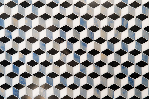 Tile in a tumbling block pattern.