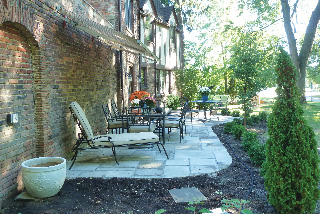 View of completed patio at a two-family home in Shaker Heights, Ohio.