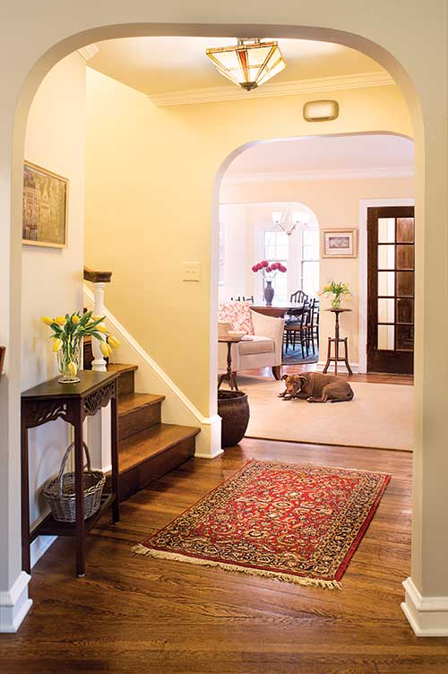View of front hall of duplex in the Fernway neighborhood of Shaker Heights, Ohio
