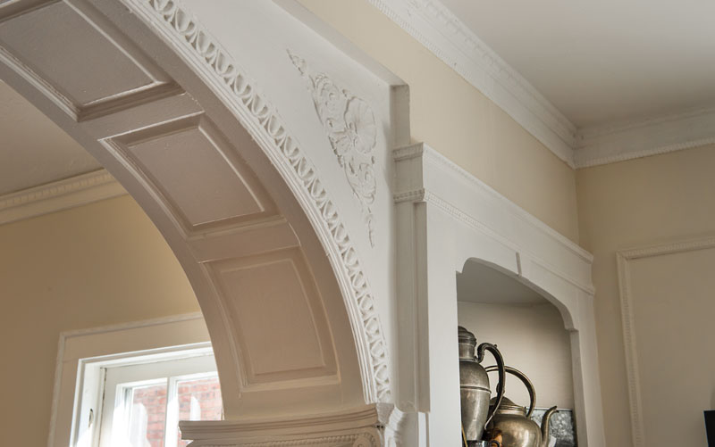 Architectural detail in two-family Shaker Heights, Ohio home