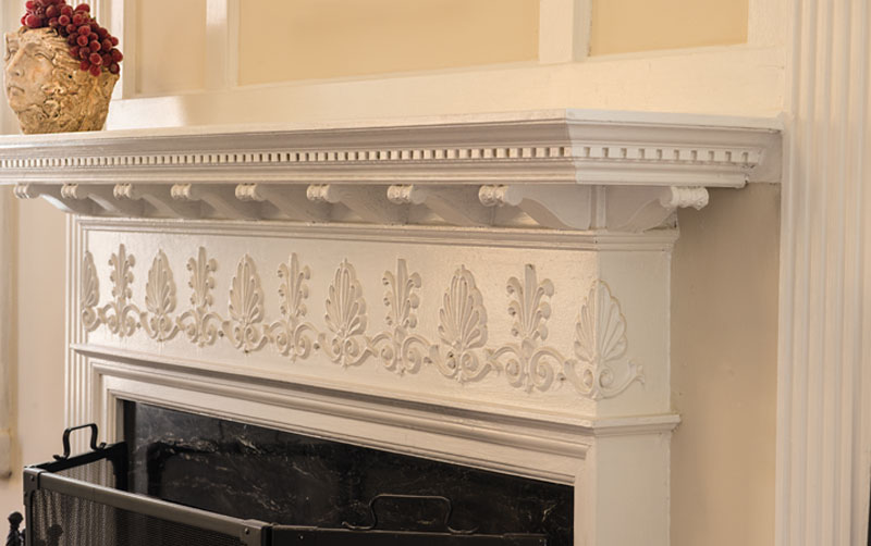 Fireplace detail in two-family home in Shaker Heights, Ohio