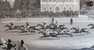 Horse race wallpaper designed by the French manufacturer Zuber