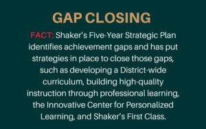 Gap closing statement from Shaker Schools