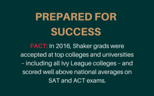 Success statement from Shaker Schools