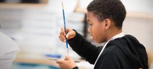 Shaker student in art class