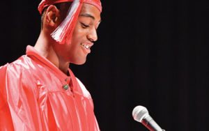 Shaker student speaking at graduation