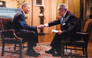 Leon Bibb interviewing Pres. Barack Obama