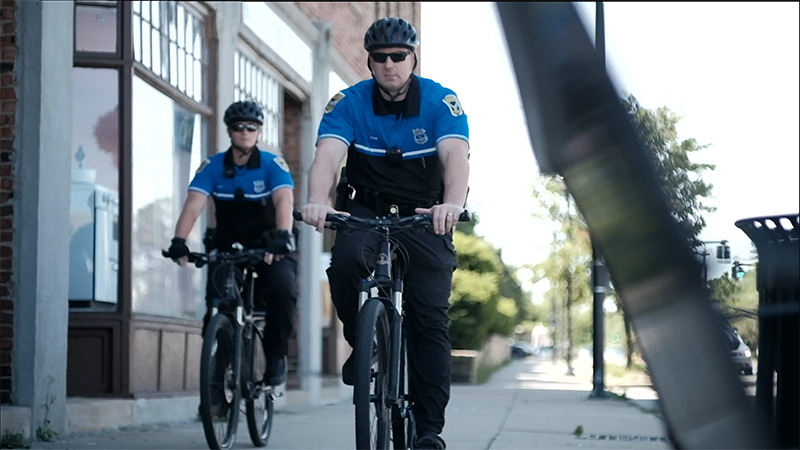 Two Shaker Heights police officers on bike patrol