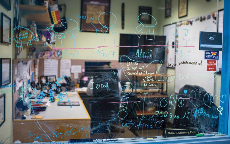 Writing on glass window.