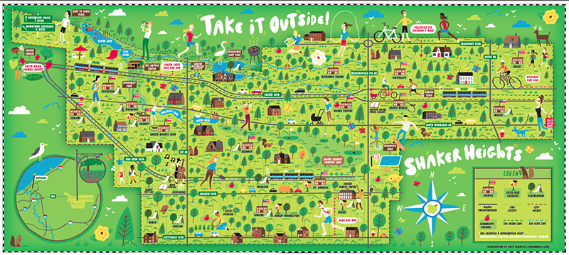 "Illustrated ""take it outside"" map featuring Shaker Heights, Ohio"