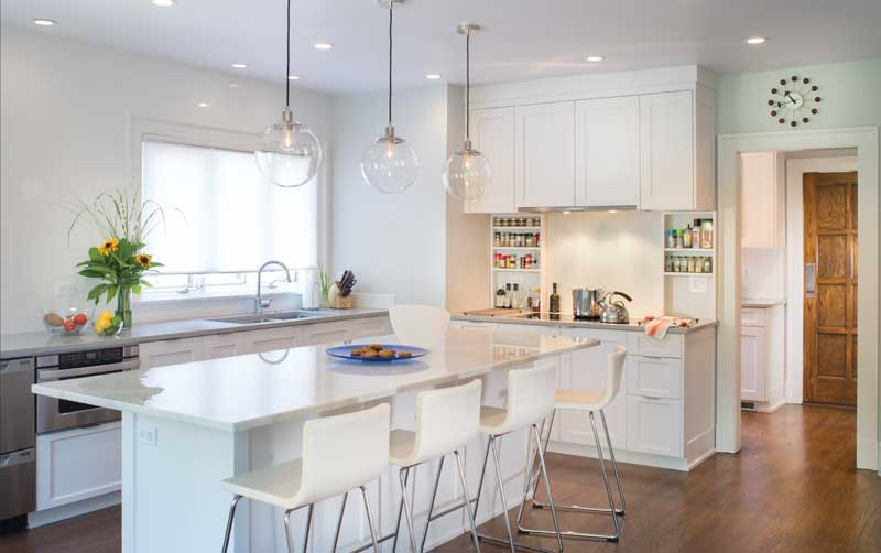 Renovated kitchen of green. 1920s-era Shaker Heights home