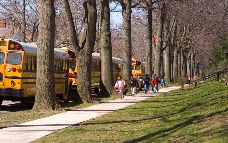 School buses in Shaker Heights, Ohio