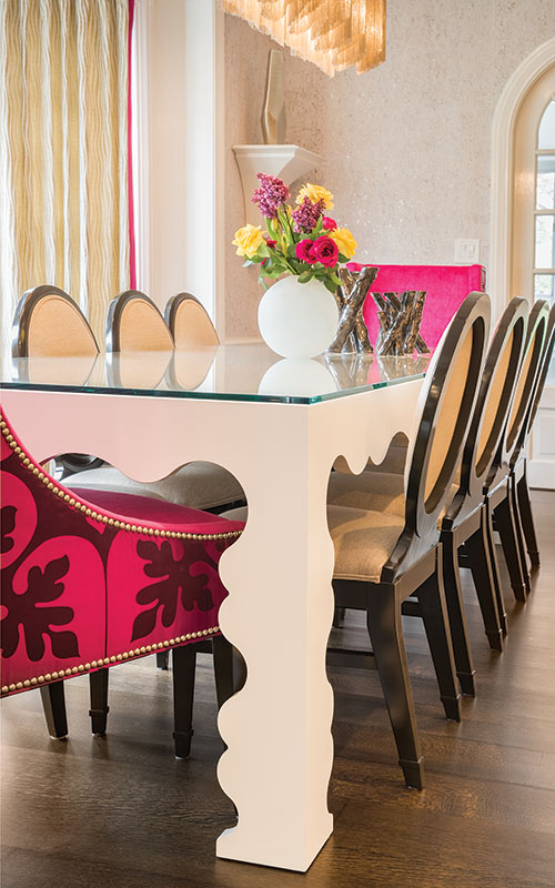 A custom-designed lacquered dining room table.