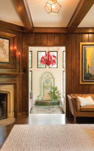Fountain in the sunroom of a historic Shaker Heights home.