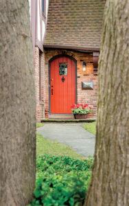 Front door of a duplex home in Shaker Heights, Ohio