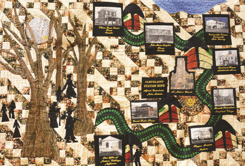 A narrative quilt by Gloria Kellon called The Journey's End celebrates Northeast Ohio's important role in the Underground Railroad.