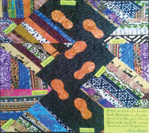 Quilt titled Mandela – Forgiveness and Goodness Road