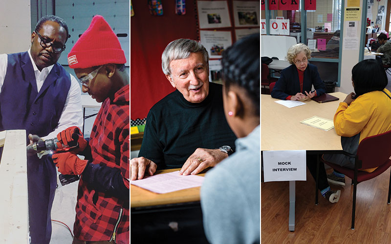 Volunteers (L-R) Dan Bickerstaff, Mike Schiavoni, and Pamela Watts