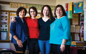 Mercer Elementary's Marybeth Eakin (second from left) with volunteers (L- R) Ruth Mayers, Susan Taylor, Sylvia Cooper.