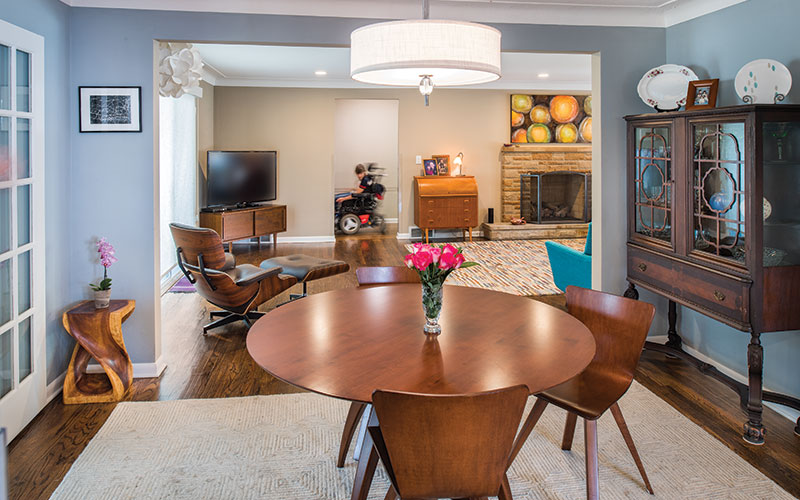 Dining room of an accessible home in Shaker Heights