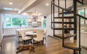 Renovated kitchen with circular staircase