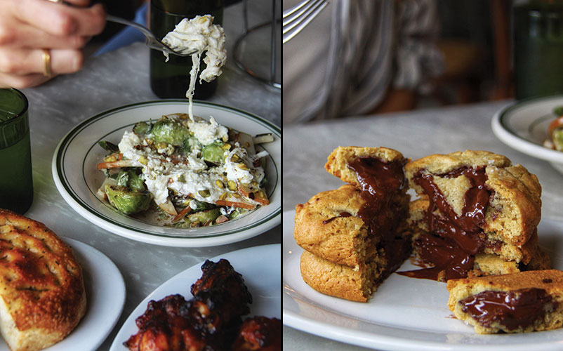 Genuine Pizza's Brussel Sprouts and Burrata Salad and Warm Chocolate Chunk Cookies