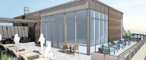 Rendering of a community terrace at Upstairs Van Aken