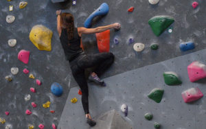 Female climber at indoor climbing gym