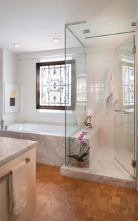Master bathroom in Brunswick's condominium in Shaker Heights.
