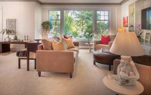 Living room of Brunswick's Shaker Heights condominium