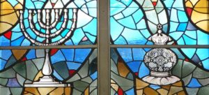 Original stained glass windows from the Shaker-Lee Synagogue