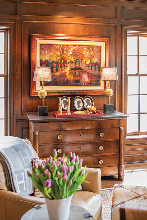 The wood paneled study of the Midkiff's home