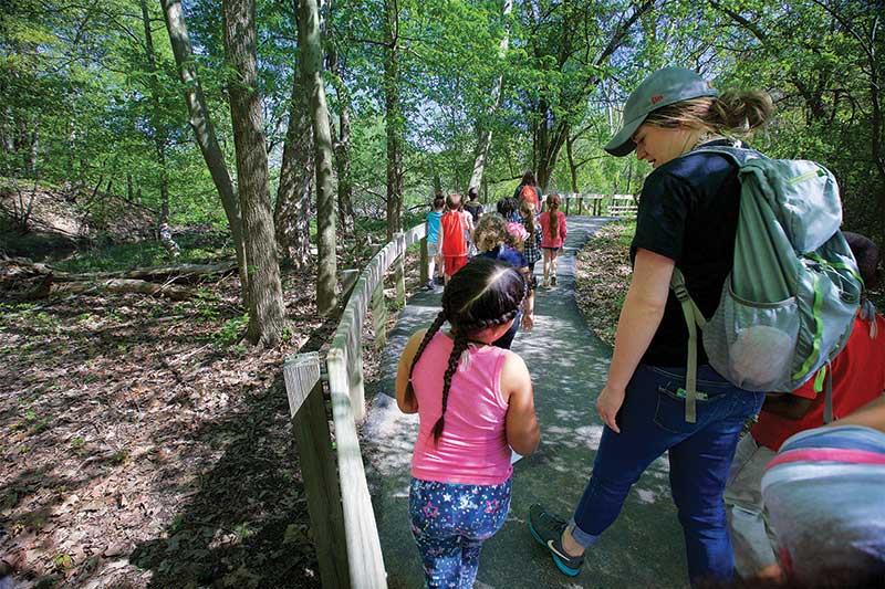 Class walking on the All People's Trail at the Nature Center at Shaker Lakes