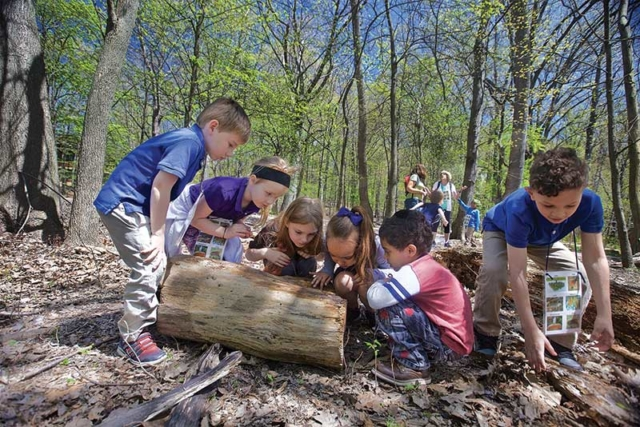 Children exploring a log at the Nature Center at Shaker Lakes