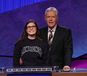 Allison Holley and Alex Trebek on the set of Jeopardy!