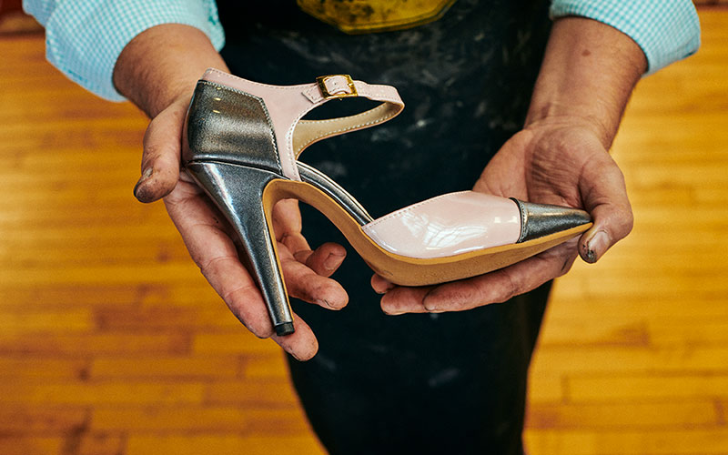New high heel created by Carlos Gomez, owner of Gomez Shoe Repair