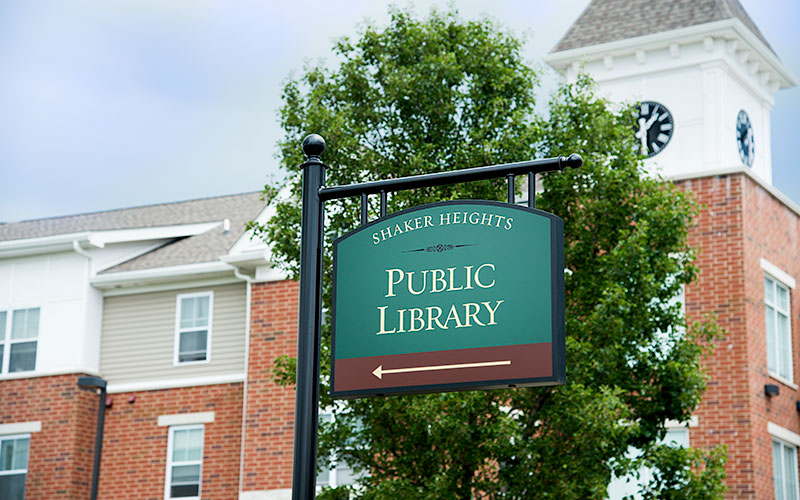 Sign for Shaker Heights Public Library