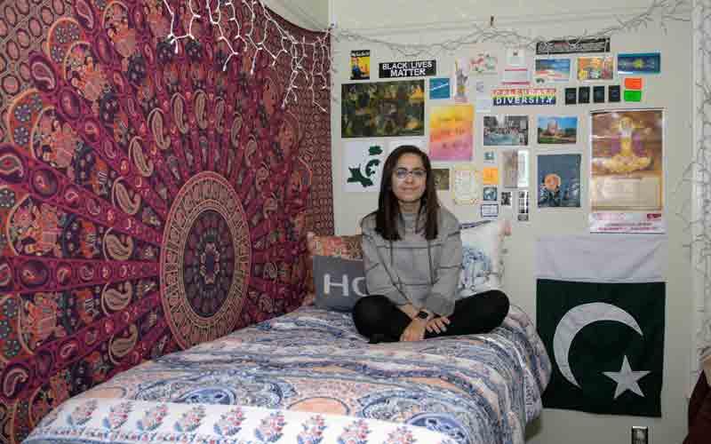Raksha in her dorm room at Miami University