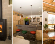 Three views of the interior of the Dandelion House